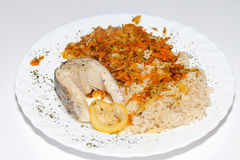 Brown rice with fisch and vegetable. The healthy diet - brown rice with fisch and vegetable stock photo