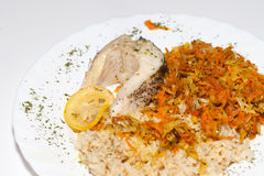Brown rice with fisch and vegetable. The healthy diet - brown rice with fisch and vegetable stock images