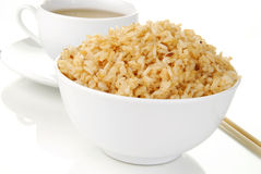 Brown rice and green tea Stock Image