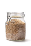 Brown Rice In A Jar Stock Photo