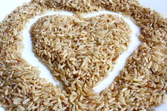 Brown rice with love Royalty Free Stock Photo