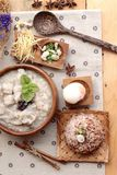 Brown rice porridge put pork and brown rice with soft-boiled egg Royalty Free Stock Photography