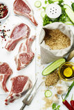 Brown rice and raw fresh vegetables Stock Photo