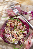 Brown rice with red radicchio and speck. Presentation of brown rice with bacon and red radicchio Stock Photo