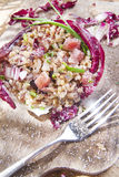 Brown rice with red radicchio and speck Royalty Free Stock Photography