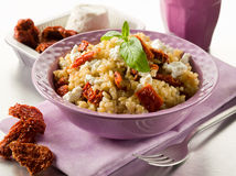 Brown rice with ricotta Stock Photography