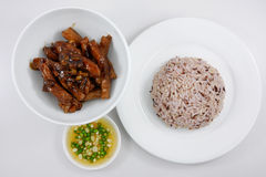 Brown rice and stir fried pork with soy sauce (1) Stock Photography