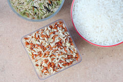 Brown Rice on Tabel. Brown Rice on Wood Tabel Stock Image