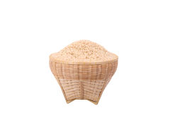 Brown rice. Thai jasmine GA BA rice (Germinated Brown Rice) in bamboo basket on a white background Stock Photography