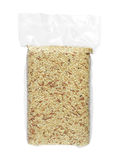 Brown rice in vacuum bag Stock Images