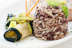 Brown rice with vegetable Royalty Free Stock Photography