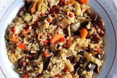 Brown rice with vegetables Royalty Free Stock Photo