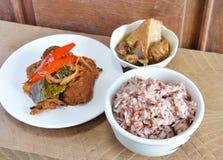 Brown rice and vegetarian food set royalty free stock image