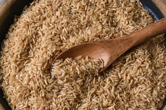 Brown Rice Wood Spoon Stock Images