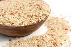 Brown rice. Is in wooden blow Royalty Free Stock Image