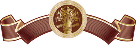 Brown rich elegant banner with gold ripe wheat sheaf. Vector decorative element, brand icon or logo template Stock Photo