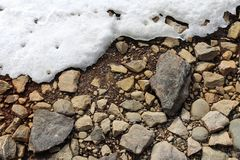Brown rieb, graue und braune Felsen und etwas Schnee stockfoto
