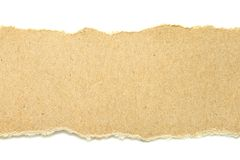 Brown ripped paper on white background. Have copy space for put text Royalty Free Stock Photo