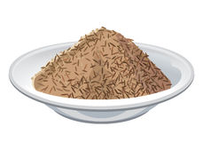 Brown rice on plate Stock Photo