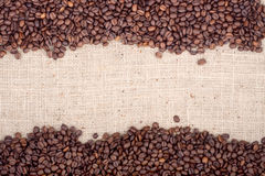 Brown roasted coffee beans. Royalty Free Stock Photo