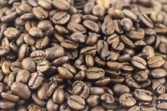 Brown roasted coffee beans. Espresso dark, aroma, black caffeine drink. The foreground in focus, back is not focus royalty free stock photography