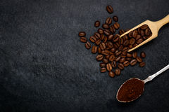 Brown Roasted Ground Coffee and Beans with Copy Space Royalty Free Stock Photo