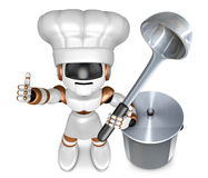 Brown robot the left hand best gestures, Right holding a ladle. Royalty Free Stock Images