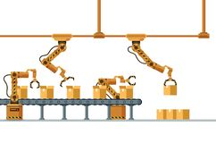 Brown Robotic Claw Automatic Packing Conveyor. Mechanical Robot Arm Crane Manufacture Technology. Yellow Grip Pack Box at Warehouse. Machinery Working Device royalty free illustration