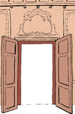 Brown Rococo Doorway Illustration Stock Images