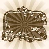 Brown rocznika kwiecista rama Zdjęcia Stock