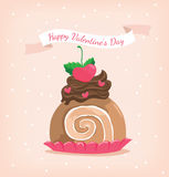 Brown roll cake with chocolate in happy valentine`s day Royalty Free Stock Images
