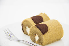 Brown roll cake Stock Photo