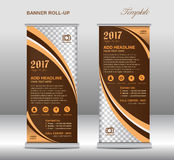 Brown roll up banner template, banner design, stand template Stock Image