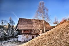 Brown Roof House Near Withered Trees Photography Royalty Free Stock Photography