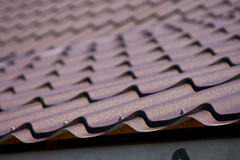 Brown roof of metal roofing Royalty Free Stock Photo