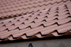Brown roof of metal roofing Royalty Free Stock Photos