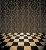 Brown room with checkered floor Stock Images