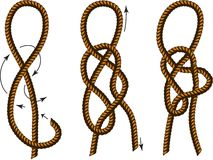 Brown Rope borders with Different Knots. How to tie a knot Royalty Free Stock Photos
