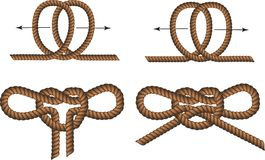 Brown Rope borders with Knots Royalty Free Stock Image