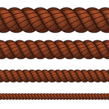 Brown rope in four sizes Stock Photos