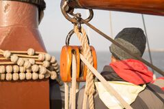 Brown Rope on a Pulley Stock Images
