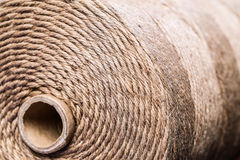 Brown rope. Rolled up brown rope background with core Stock Photo