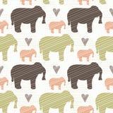 Brown rose et silhouette verte d'éléphant sans couture illustration libre de droits