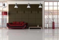 Brown-rotes und schwarzes Wohnzimmer Lizenzfreie Stockfotos