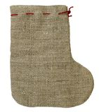 Brown rough christmas sock Royalty Free Stock Images
