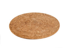 Brown Round Cork Coaster Isolated on White Royalty Free Stock Images