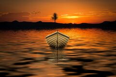 Brown Row Boat on Body of Water Painting Stock Image