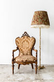 Brown Royal Chair with lamp Stock Image