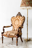 brown Royal Chair with lamp Royalty Free Stock Images