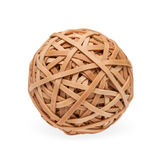Brown rubberband ball with path. High res rubberband ball with soft shadow. Isolated on white with clipping path Royalty Free Stock Photos